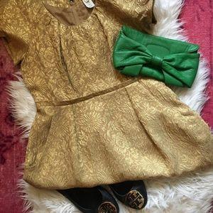 J Crew Collection Gold Metallic Jacquard Dress